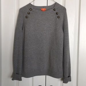 JOE FRESH gray sweater with button shoulders